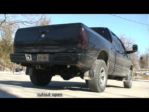 2003 Dodge Ram 5.9 360 Glasspack Cherry Bomb & eCutout - YouTube