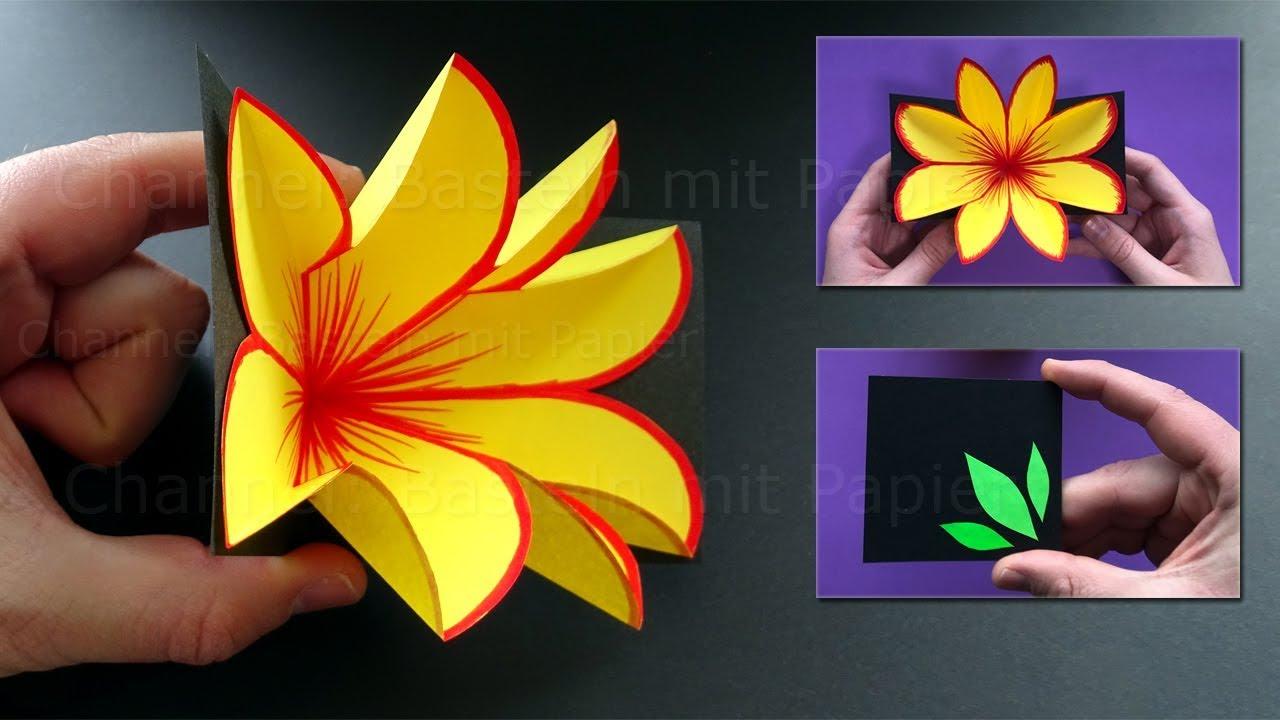 Basteln mit Papier 💐 Pop Up Karte mit Blume selber machen - DIY Bastelideen für Geschenke #1
