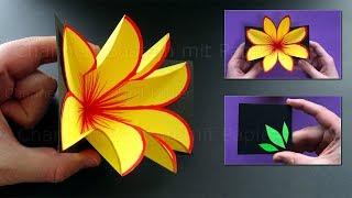 Basteln mit Papier 💐 Pop Up Karte mit Blume selber machen - DIY Bastelideen für Geschenke