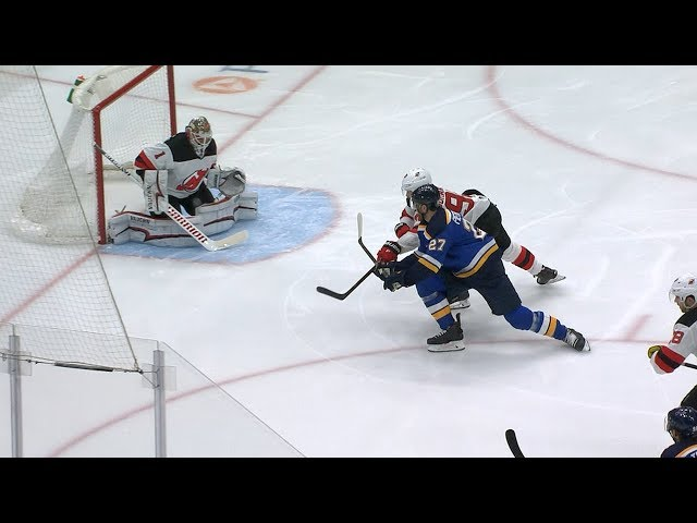 Alex Pietrangelo roofs backhand after gorgeous passing by the Blues