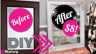 ✨DIY | How to Transform A BASIC MIRROR to CHIC & GLAM!!✨Tutorial 🤩 $8! 🤩