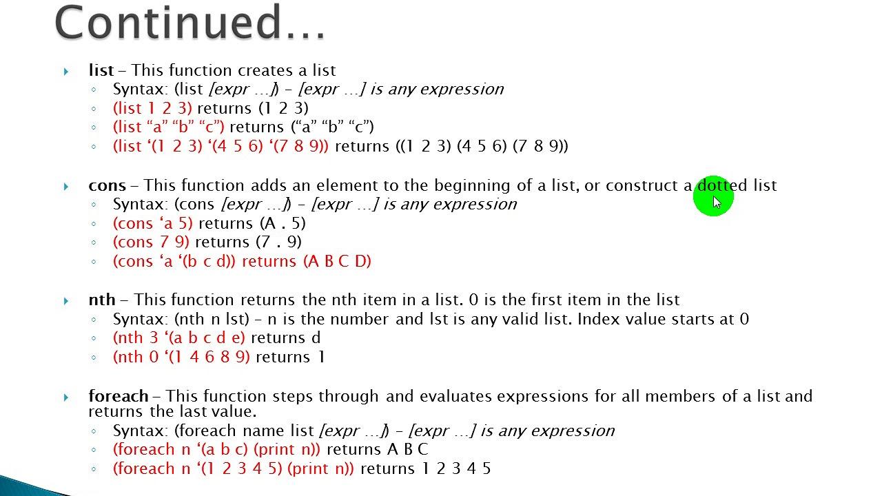 AutoLISP List Functions - Part 2