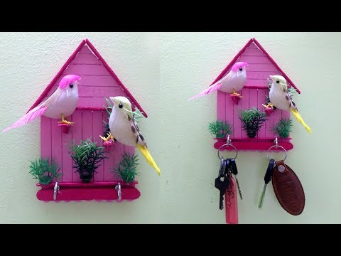 Key holder making with Popsicle sticks | Best out of waste | art and crafts