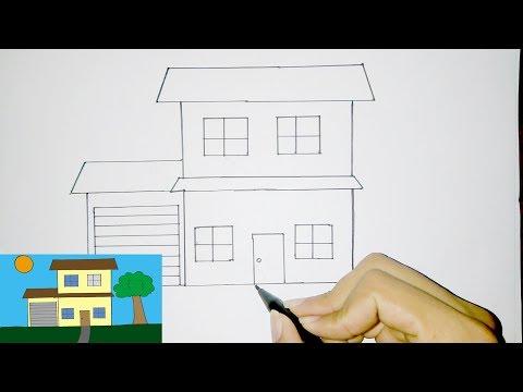 Cara Menggambar Rumah Tingkat Sederhana Untuk Anak Youtube