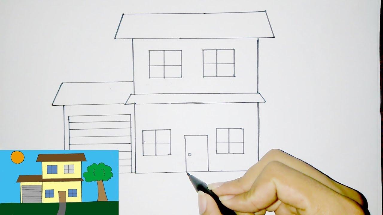 Cara Menggambar Rumah Tingkat Sederhana Untuk Anak