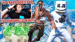 I got 50 TRAVIS SCOTT vs 50 MARSHMELLO SKINS to scrim for $100 in Fortnite... (high kill scrims)
