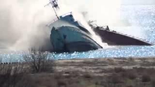 В интернете появилось видео затопления корабля под Евпаторией(, 2014-03-15T16:15:18.000Z)