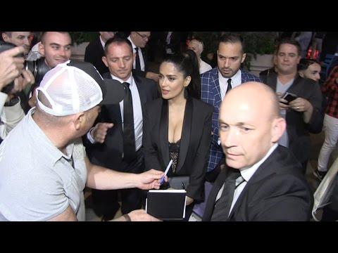 Selma Hayek cross Lindsay Lohan while leaving the Paul Allen Party