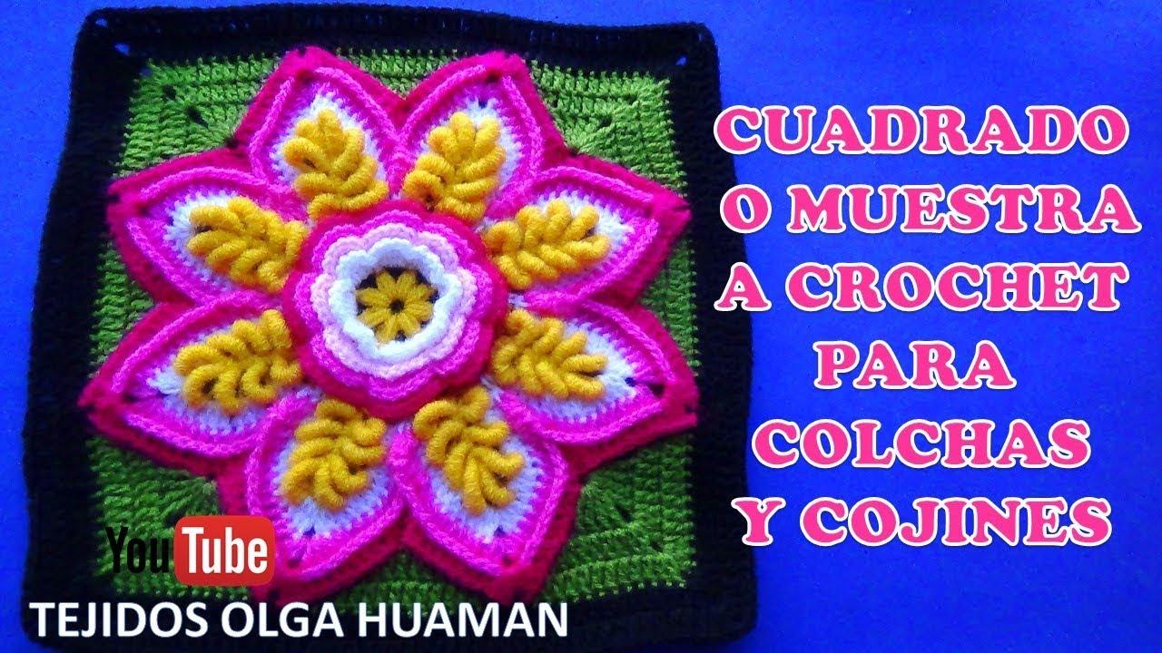 Cuadrado o muestra a crochet flor en puntos rococo paso a - Colchas a ganchillo muestras ...