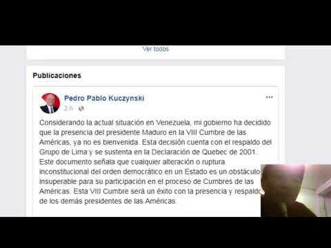 PPK Pedro Pablo Kuczynski decidió presencia de Maduro ya no es bienvenida
