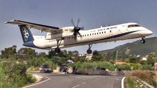 LOWEST DASH 8 LANDING EVER?  Skiathos Airport - Olympic Q400 - Plane Spotting @ JSI
