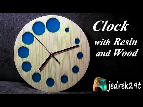 CLOCK with Resin and Wood/ZEGAR z Żywicy i Drewna