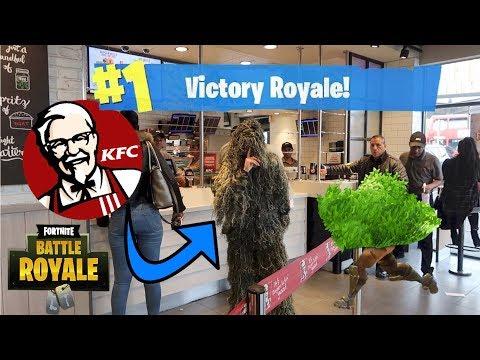 24 Hour Overnight Challenge As Fortnite Bush In KFC!
