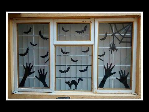 Manualidades para halloween adorno para ventana youtube for Decoracion para puertas halloween