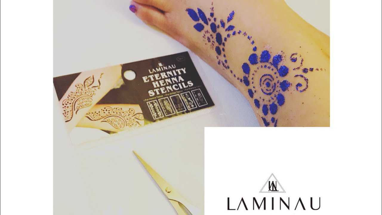 Sparkle Glitter Press On Print Henna Stencils Youtube