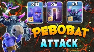 Super Strong PeBoBat 3star Attack TH12 War! 10 Bowler 6 Bat Spell 3 Pekka Destroy Max TH12 War Bases