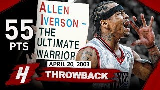 Allen Iverson EPIC FULL GAME 1 Highlights vs Hornets (2003 Playoffs) - 55 Pts, Playoff Career-HIGH! YouTube Videos