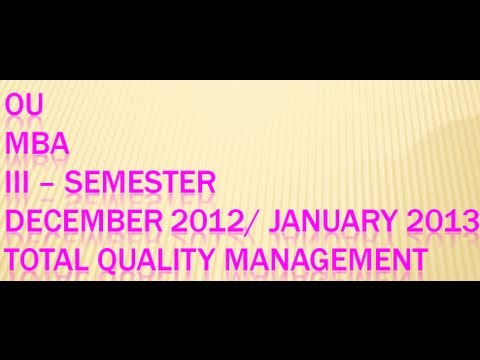 Total Quality management (TQM) and Continuous