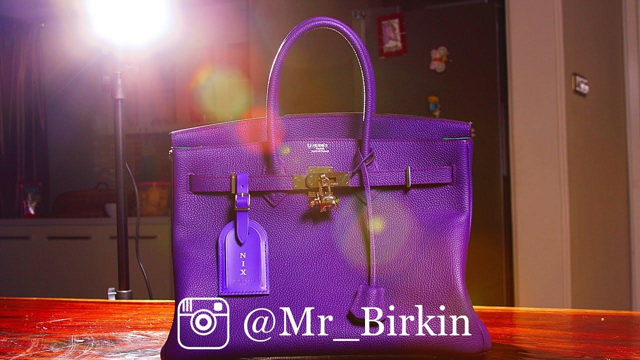 Hermes Birkin 35 Ultra Violet Purple Fjord Silver SHW Horseshoe ...