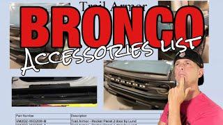 2021 Ford Bronco accessories list break down