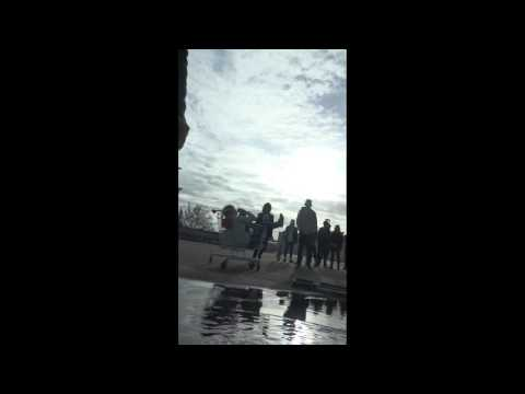 Running Backwards Into Puddle - filming Youth On The March