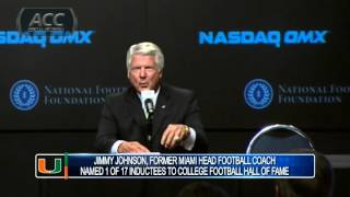 Former UM Coach Jimmy Johnson Hall of Fame Announcement