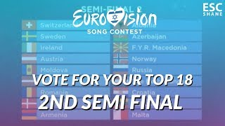 Eurovision 2019: VOTE for YOUR TOP 18 (2nd Semi-Final) [CLOSED]