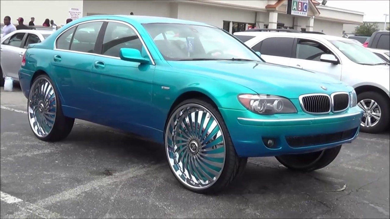 "kandy teal bmw 745 on 30"" dub swyrls - orlando classics 2013 - youtube"