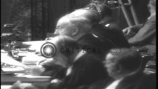 Nazi leaders tried for war crimes during Nuremberg trial in Germany HD Stock Footage