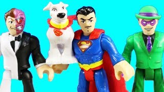 Imaginext Batman Superman Krypto Battle Two Face & Riddler ! Superhero Toys