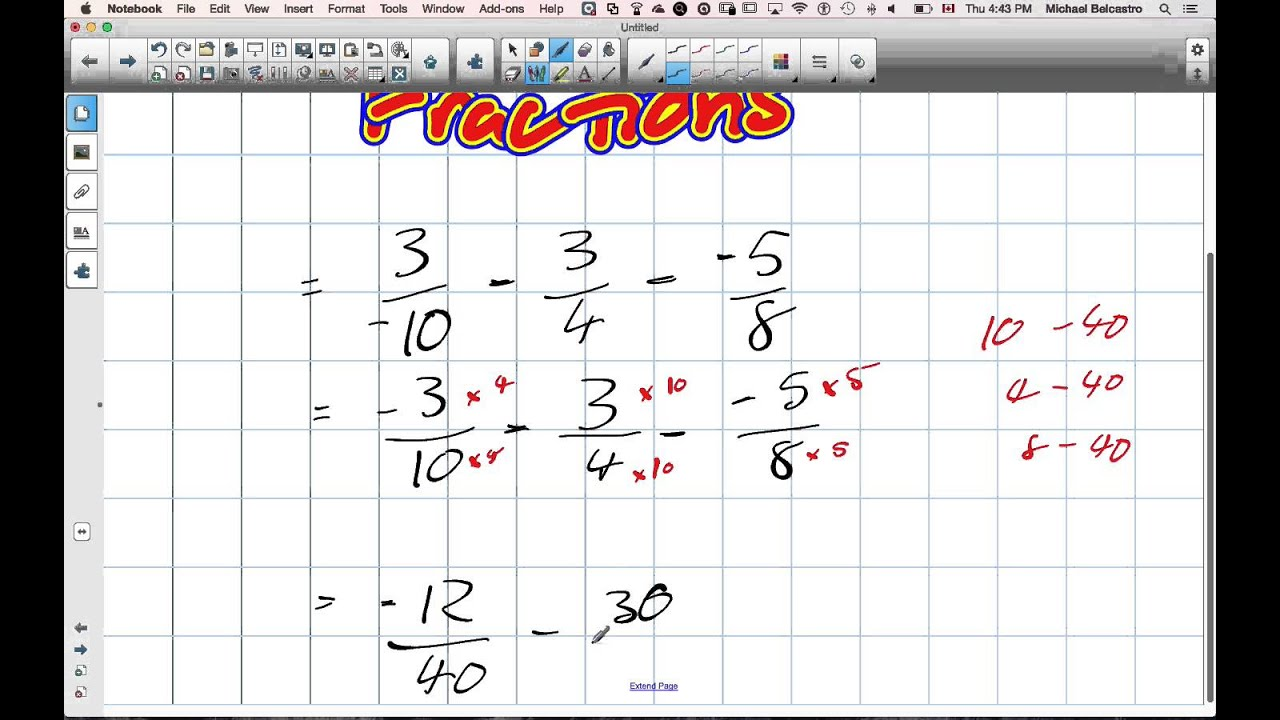 Adding and Subtracting Fractions Grade 9 Academic Lesson 1 1 10 1 15