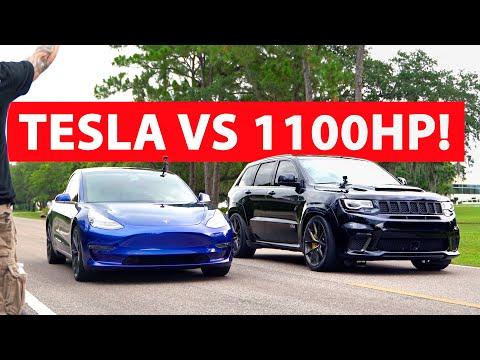TESLA vs 1100HP Trackhawk!
