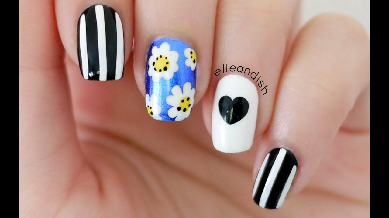 Lazy Daisy Nails (Brandy Melville & Wildfox Inspired) - YouTube