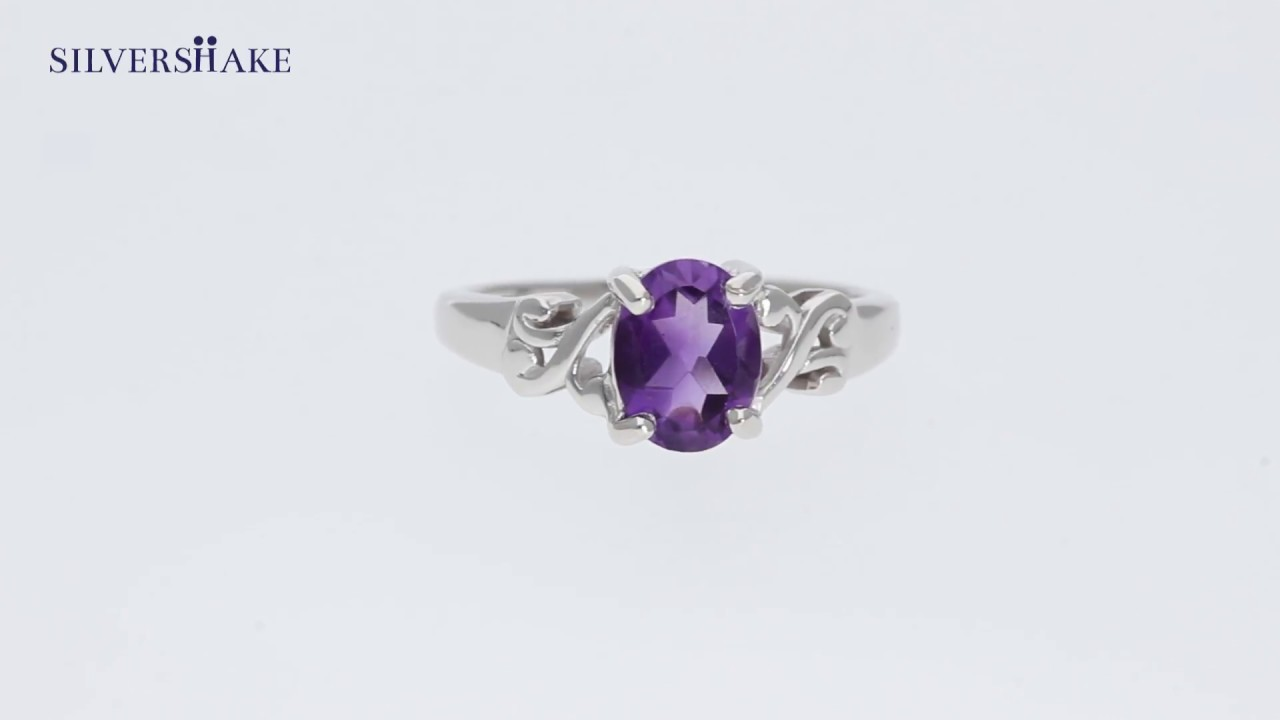 Natural African Amethyst 925 Sterling Silver Victorian Style Solitaire Ring 1.13ct