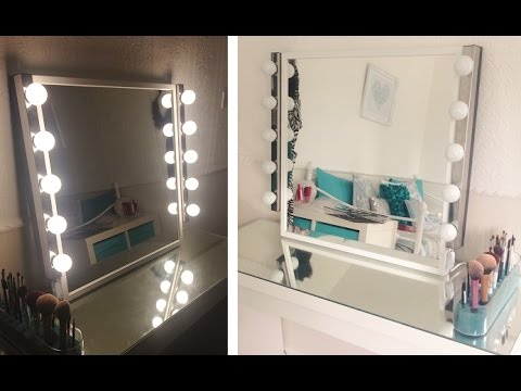 my diy hollywood inspired vanity mirror youtube. Black Bedroom Furniture Sets. Home Design Ideas
