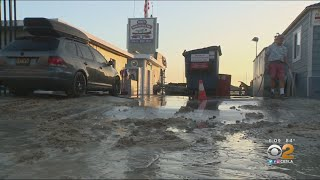 Powerful Waves Flood Balboa Peninsula In Newport Beach