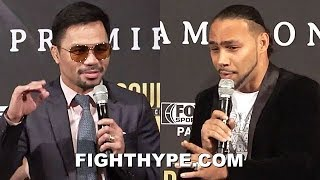 "(WHOA!) PACQUIAO & KEITH THURMAN GO AT IT; TRADE BANTER ON ""USELESS WORDS"" & GETTING ""CRUCIFIED"""