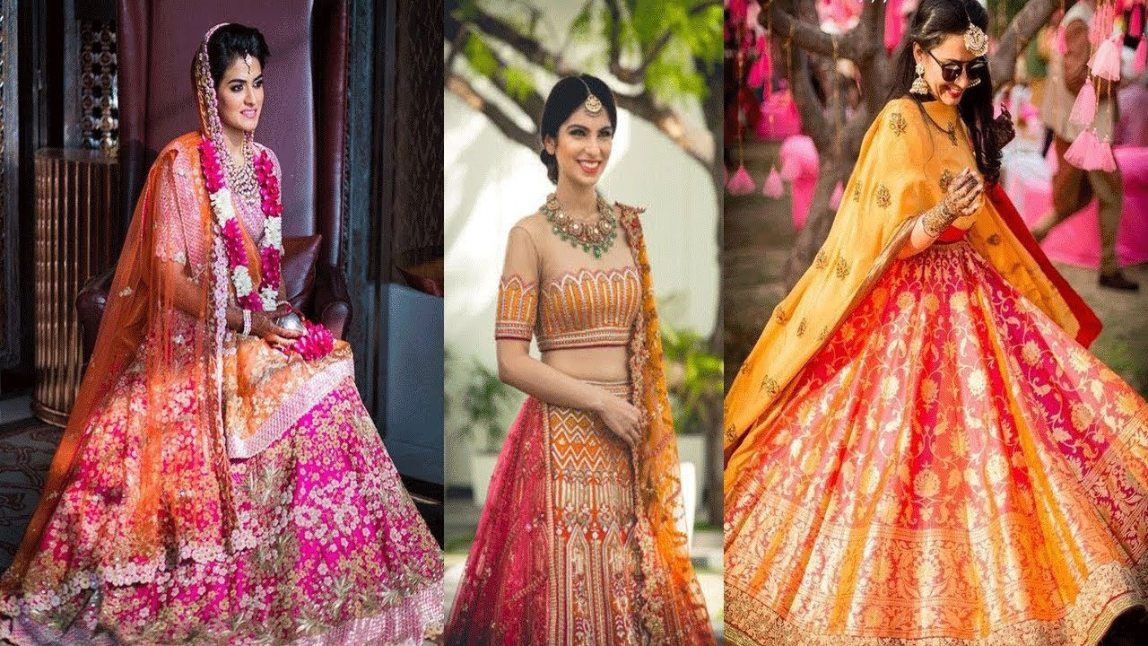 Beautiful Orange And Pink Colour Combinations For Lehenga ...