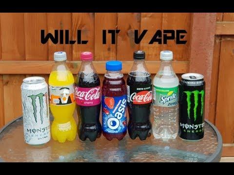 Will It Vape? Coke Zero, Sprite Zero, Fanta Zero, Monster, Monster Ultra Zero and Oasis.