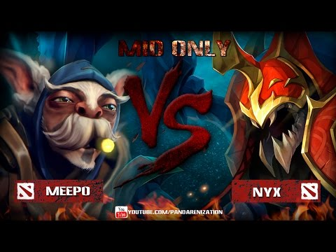 видео: meepo vs nyx assasin [Битва героев mid only] dota 2