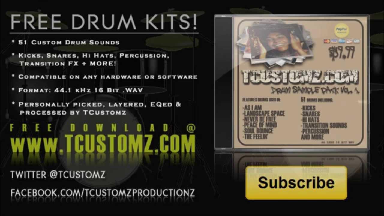 FREE DRUM KITS - TCustomz Drum Sample Pack Vol. I - Hip Hop, Rap ...
