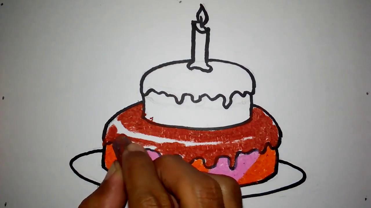 Cara Menggambar Kue Ulang Tahun Youtube