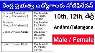 latest govt jobs with 10th 12th degree pass || central government jobs in Telugu