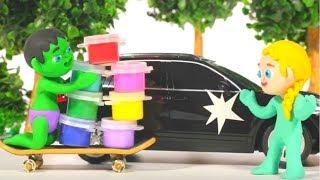 KIDS FIXED THE CAR CRASH WITH RAINBOW COLORS PAINT ❤ SUPERHERO PLAY DOH CARTOONS FOR KIDS