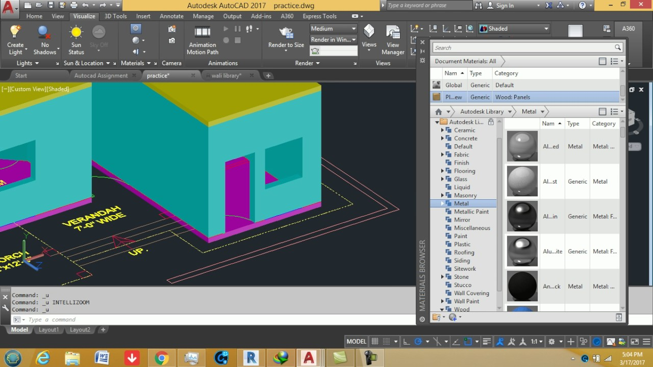 AutoCAD training online block in autocad 2017,material assigning and ...
