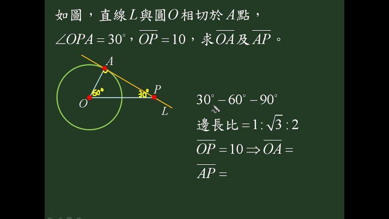 中山國中數學題目影音教學圓形切線圓形持性9a21014 - YouTube
