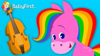 Flute, Violin, Drum | Coloring and Music | Rainbow Horse | BabyFirst TV