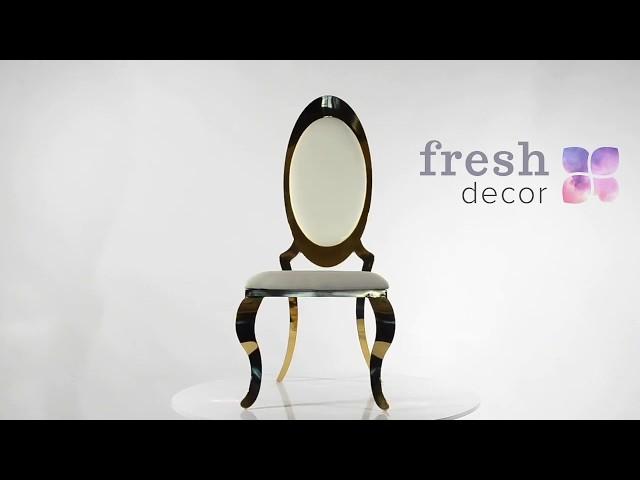 Видеообзор золотого трона из нержавеющей стали покрытой позолотой с белым сидением и спинкой