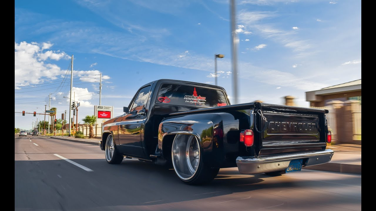 86 C10 on 24x12 Reverse Lip Intro Billets!!!! - YouTube