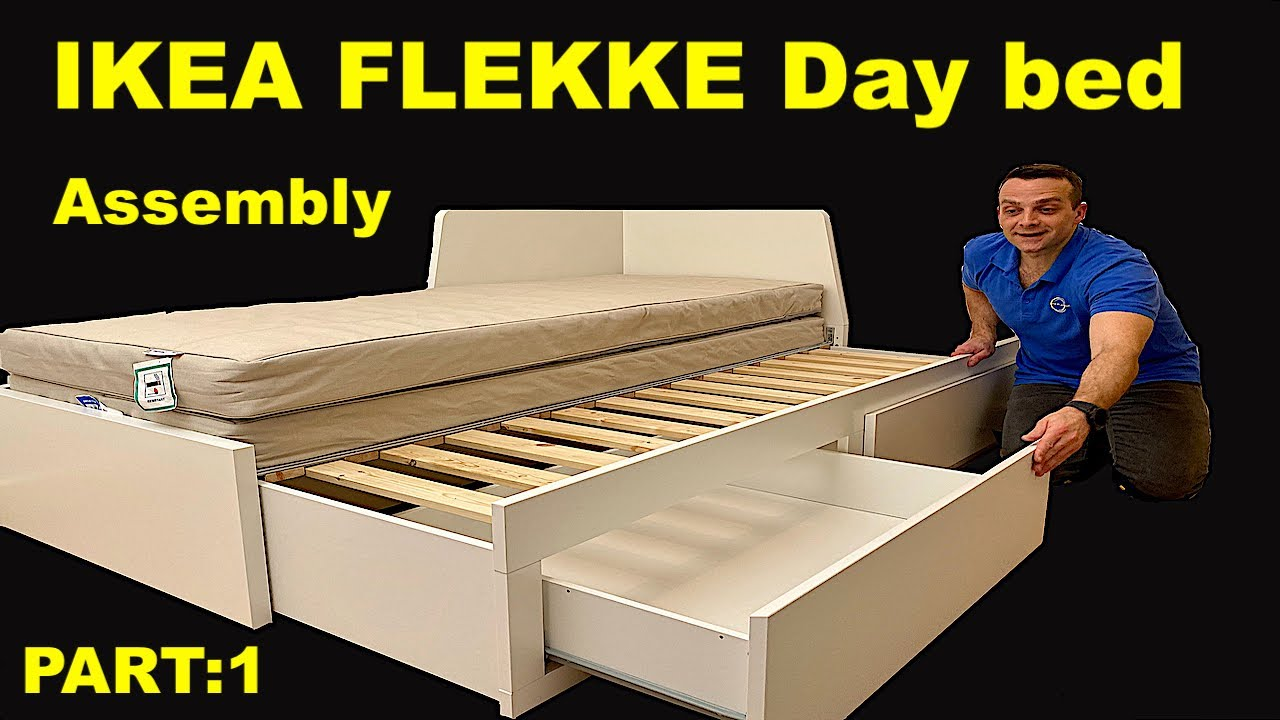 Ikea Day Bed Assembly Instructions Flekke Frame With 2 Drawers Part 1 Youtube